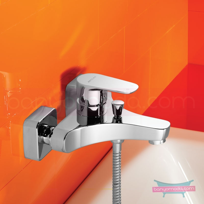 Artema D-Line Banyo Bataryası - A40753 açılı perlatörlü ısı ve debi ayarlı su ve enerji tasarruflu sade ve ince görüntsünüyle banyonuza değer katan armatür
