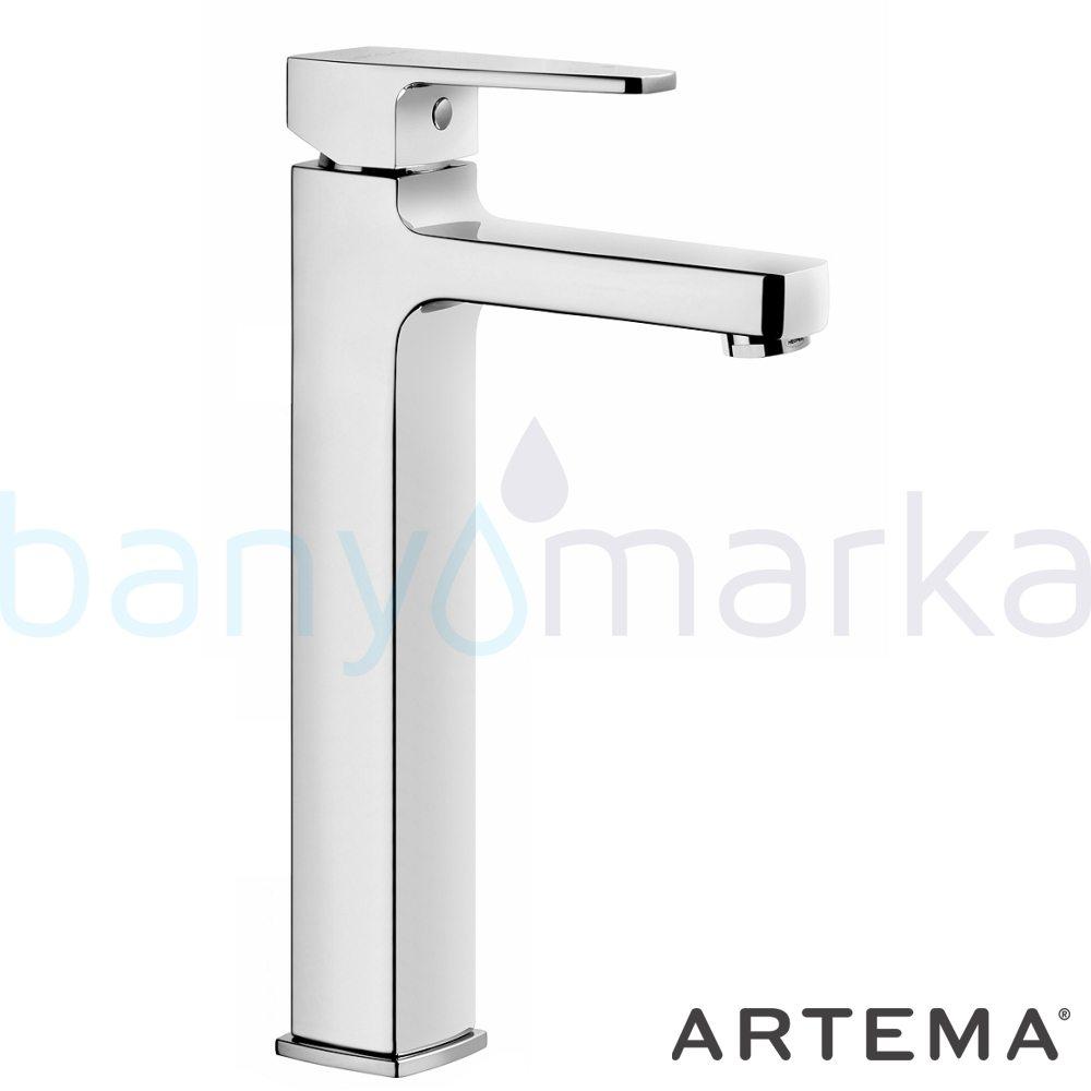Artema Q-Line Yüksek Lavabo Bataryası - A40798 açılı perlatörlü ısı ve debi ayarlı su ve enerji tasarruflu köşeli hatlarıyla farklılaşan armatür birçok lavabo ile uyum sağlıyor