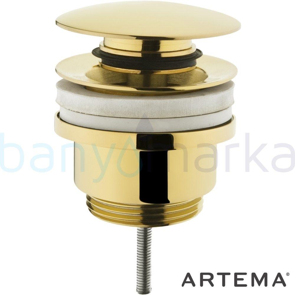 Artema Lavabo Yuvarlak Süzgeci (Universal-Basmalı aç-kapa), Altın A4514923 Sifon