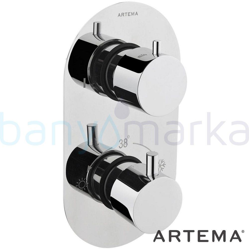 Artema AquaHeat Termostatik Ankastre Duş Bataryası (2 Yollu Yönlendiricili) - A47025 180 derece açma kapama su ve enerji tasarruflu aşırı sıcak su ile yanma riskini ortadan termostatik armatür