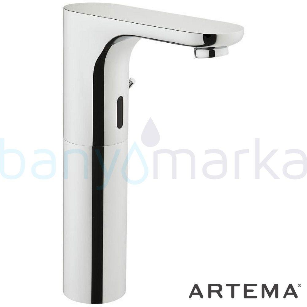 Artema Aquasee Fotoselli Yüksek Lavabo Bataryası (Çift Su Girişli, Pilli) - A47065 el değmeden su akışı sağlayan hijyenin önem kazandığı teknolojik armatür