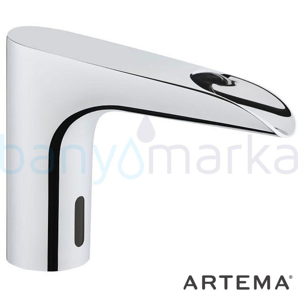 Artema Aquasee Fotoselli Lavabo Bataryası (Şelale Akışlı, Çift Su Girişli, Pilli) - A47077 el değmeden su akışı sağlayan hijyenin önem kazandığı teknolojik armatür