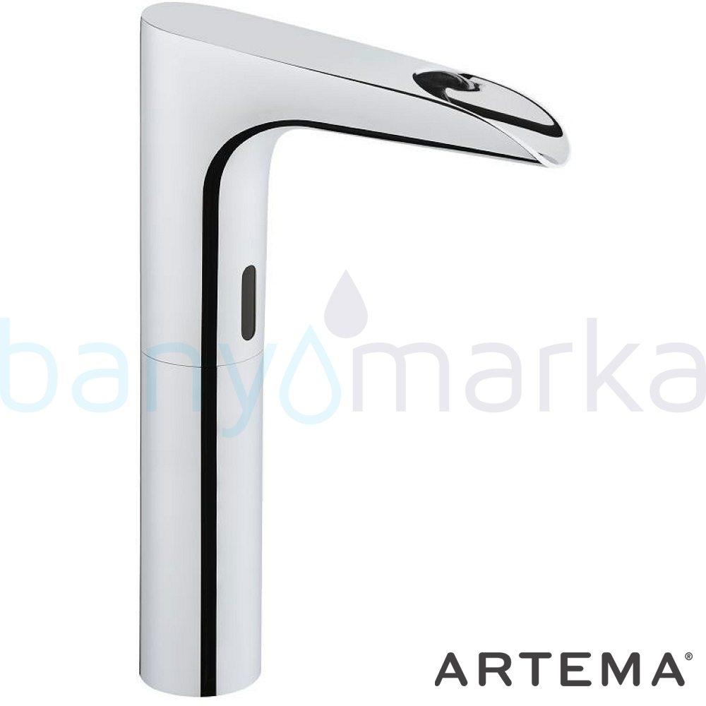 Artema AquaSee Fotoselli Lavabo Bataryası (Yüksek, Şelale Akışlı, Çift Su Girişli, Elektrikli) A47080 Fotoselli - Elektronik Batarya