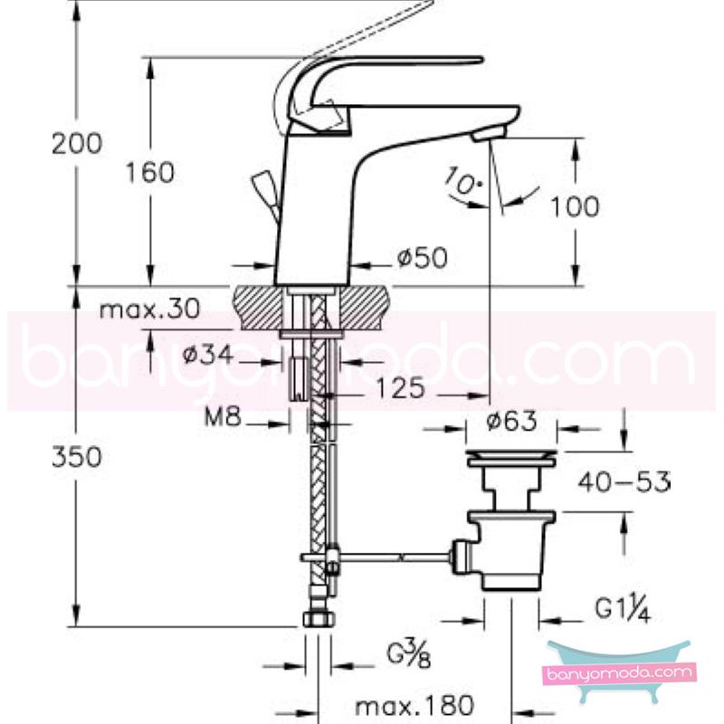 Artema Style X Lavabo Bataryası (Sifon Kumandalı) - A40173 ısı ve debi ayarlı su ve enerji tasarruflu