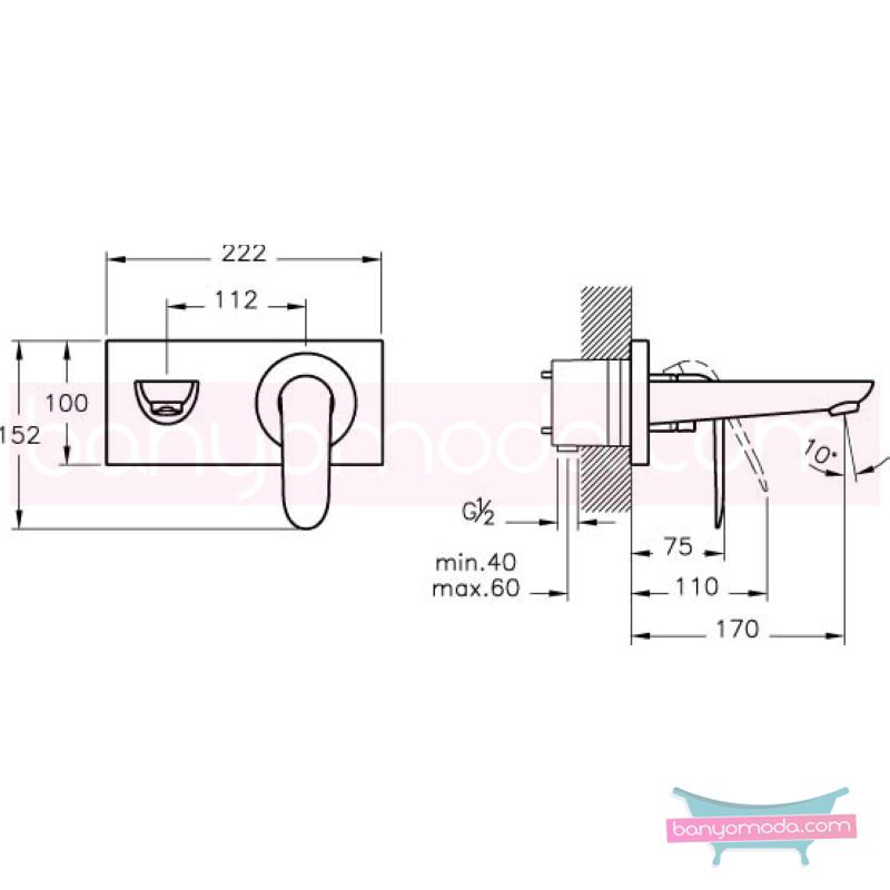 """Artema Style X Ankastre Lavabo Bataryası, Ekstra Su Tasarruflu - A40178STA kireç kırıcılı ısı ve debi ayarlı su ve enerji tasarruflu """"Devamlılık"""" ve """"bütünlük"""" düşüncesinden doğan bir armatür. ezber bozan kusursuz tasarımıyla banyonuza devamlılık ve bütü"""
