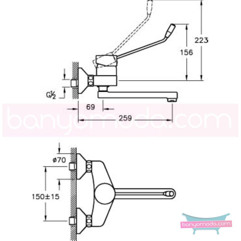 Artema AquaMed Doktor Bataryası (Duvardan) - A40310 ısı ve debi ayarlı bedensel engellilere ve doktorlara özel geliştirdiğimiş kolay kullanımlı armatür