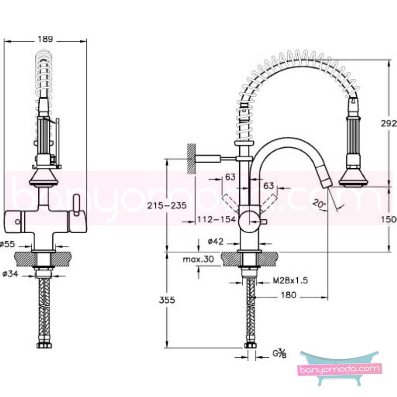 Artema Ilia Watertower Eviye Bataryası - A40383 ısı ve debi ayarlı su ve enerji tasarruflu özelliklerinin yanı sıra sadelik ve estediği yansıtan armatür