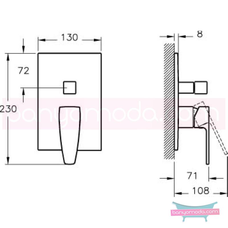 Artema Q-Line Ankastre Banyo Bataryası (Sıva Üstü Grubu) - A40545 köşeli hatlarıyla farklılaşan armatür birçok lavabo ile uyum sağlıyor