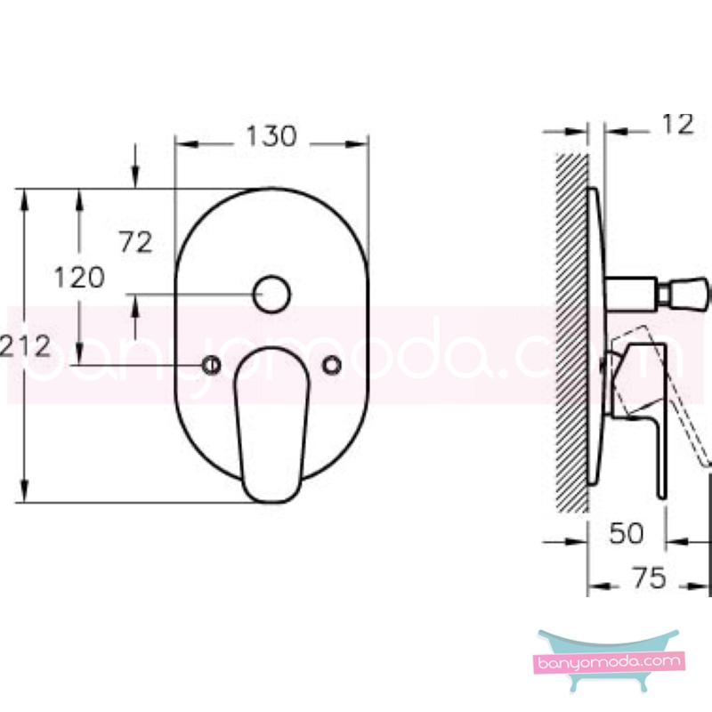 Artema D-Line Ankastre Banyo Bataryası (Sıva Üstü Grubu) - A40547 sade ve ince görüntsünüyle banyonuza değer katan armatür