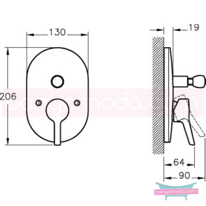 Artema Slope Ankastre Banyo Bataryası (Sıva Üstü Grubu) - A40577 eğimli gövdesi ve küçük detaylarıyla banyonuz farklı bir estetik görünüme kavuşur