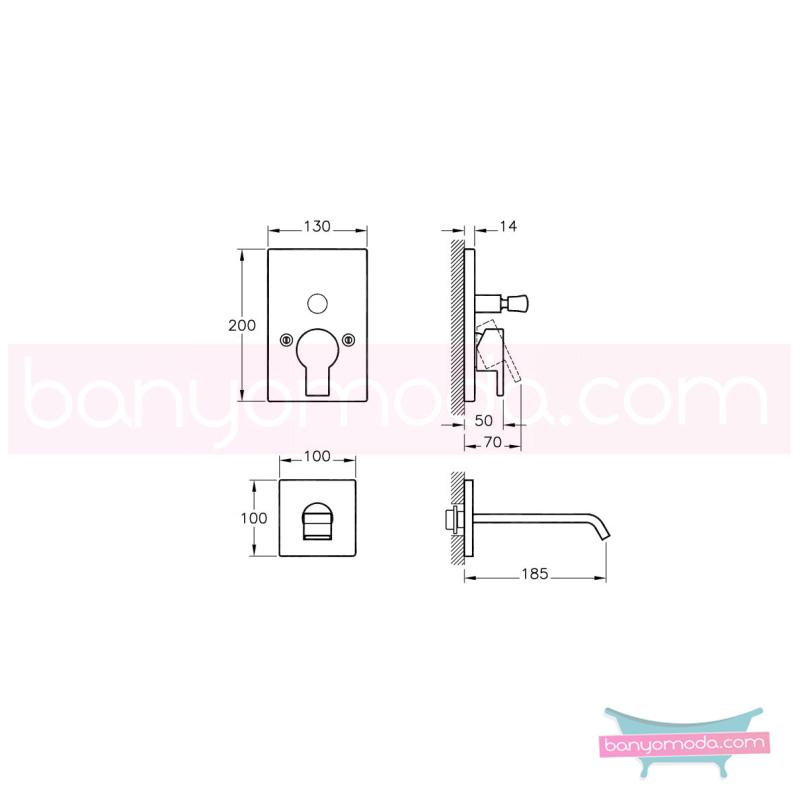 Artema Diagon Ankastre Banyo Bataryası (Sıva Üstü Grubu) - A40589 ısı ve debi ayarlı su ve enerji tasarruflu Noa imzalı yalın tasarımla banyonuza ayrıcalık katar