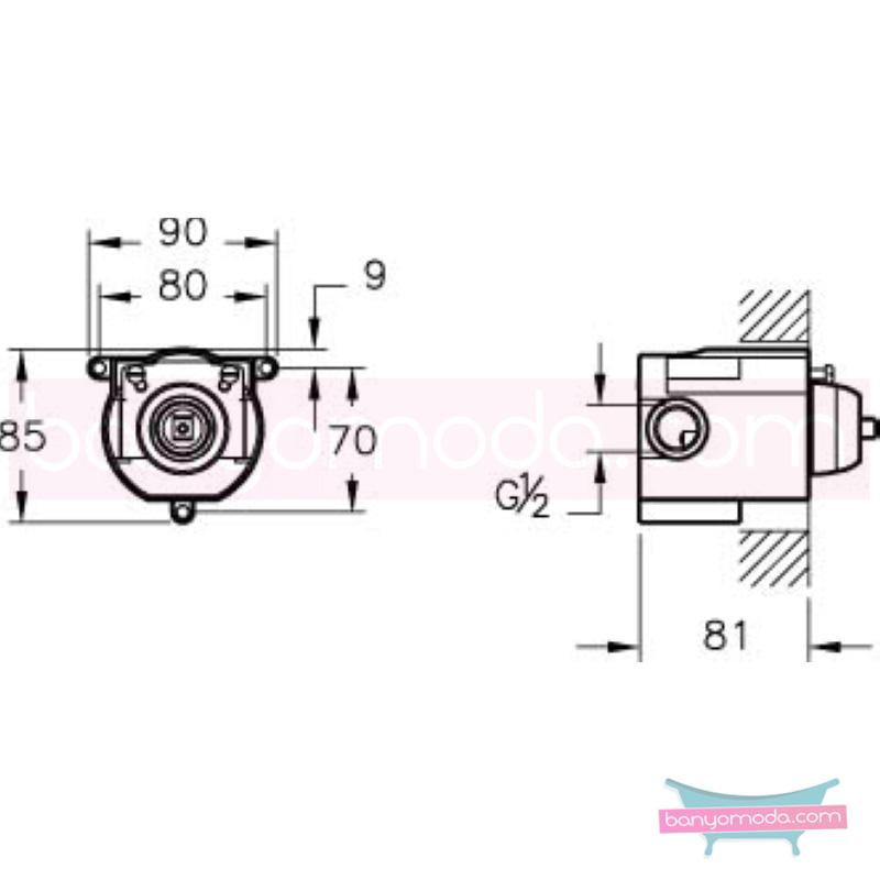 Artema Ankastre Duş Bataryası (Sıva Altı Grubu) - A40591 ısı ve debi ayarlı su ve enerji tasarruflu