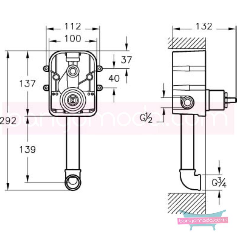 Artema Q-Line Ankastre Banyo Bataryası (Sıva Altı Grubu) - A40599 ısı ve debi ayarlı su ve enerji tasarruflu köşeli hatlarıyla farklılaşan armatür birçok lavabo ile uyum sağlıyor