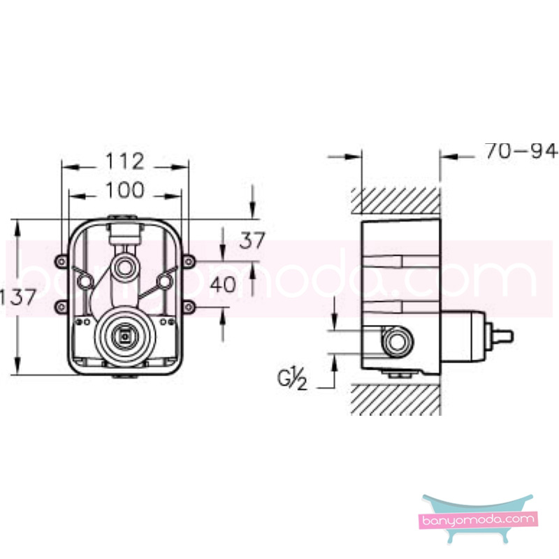 Artema Diagon Ankastre Duş Bataryası (Sıva Altı Grubu) - A40668 ısı ve debi ayarlı su ve enerji tasarruflu Noa imzalı yalın tasarımla banyonuza ayrıcalık katar