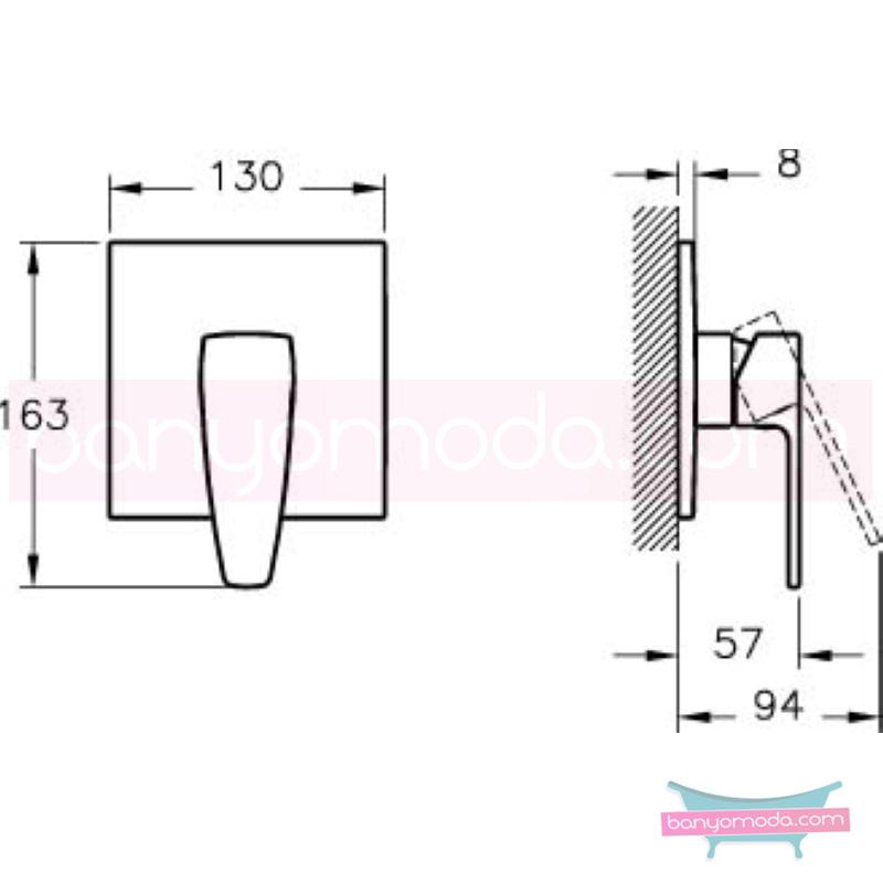 Artema Q-Line Ankastre Duş Bataryası (Sıva Üstü Grubu) - A40669 köşeli hatlarıyla farklılaşan armatür birçok lavabo ile uyum sağlıyor