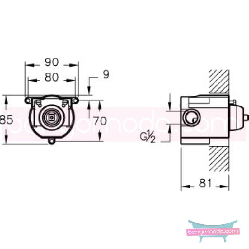 Artema Q-Line Ankastre Duş Bataryası (Sıva Altı Grubu) - A40670 ısı ve debi ayarlı su ve enerji tasarruflu köşeli hatlarıyla farklılaşan armatür birçok lavabo ile uyum sağlıyor