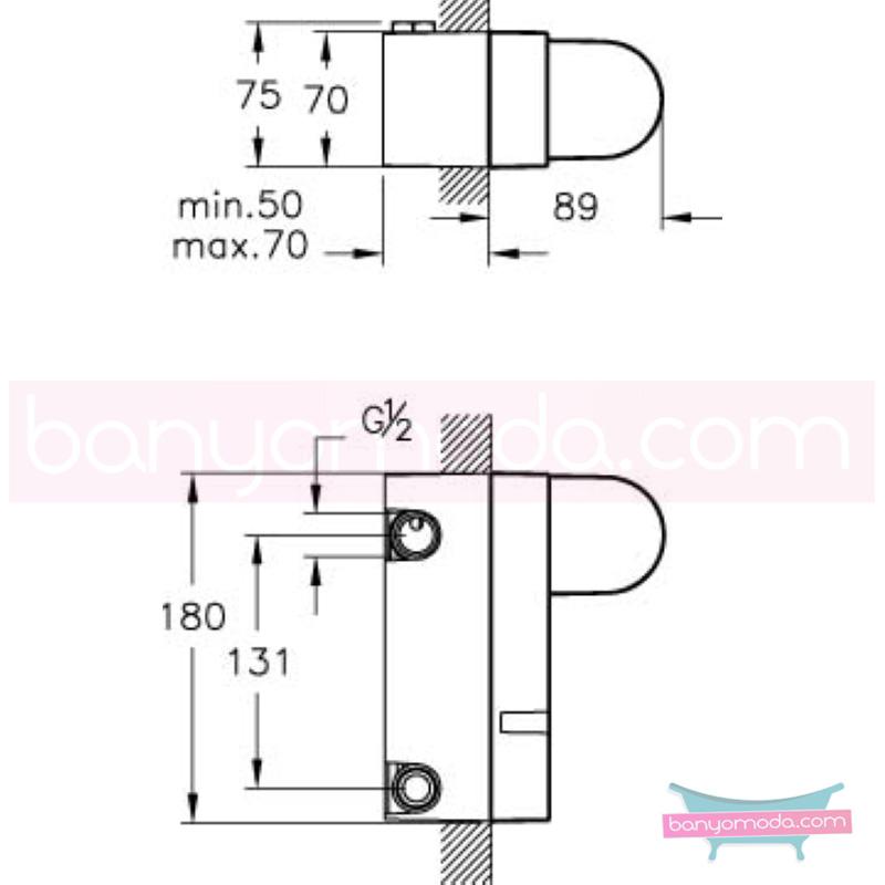 Artema Style X Ankastre Banyo Bataryası-2 Yollu / Ankastre Duş Bataryası (Sıva Altı Grubu) - A40672 ısı ve debi ayarlı su ve enerji tasarruflu