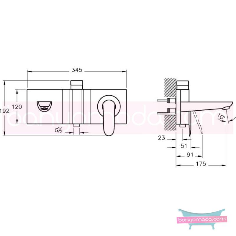 Artema Style X Ankastre Banyo Bataryası-2 Yollu Yönlendiricili (Sıva Üstü Grubu) - A40674 ısı ve debi ayarlı su ve enerji tasarruflu