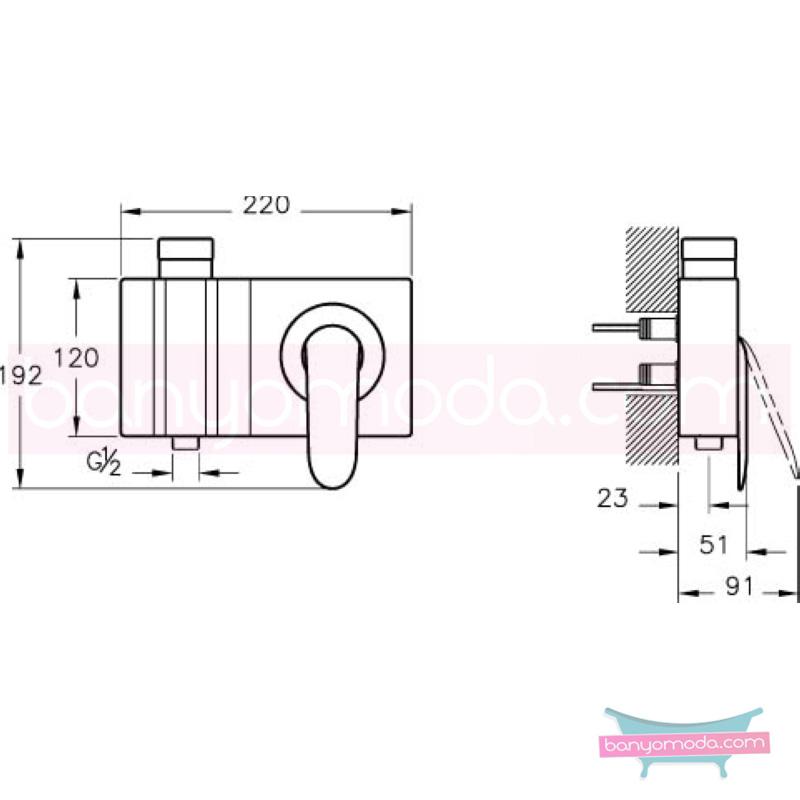 """Artema Style X Ankastre Duş Bataryası-2 Yollu Yönlendiricili (Sıva Üstü Grubu) - A40675 """"Devamlılık"""" ve """"bütünlük"""" düşüncesinden doğan bir armatür. ezber bozan kusursuz tasarımıyla banyonuza devamlılık ve bütünlük katar"""