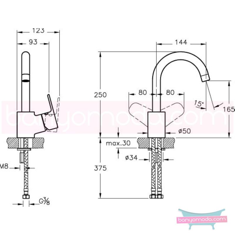 Artema D-Line Lavabo Bataryası (Döner Borulu) - A40748 açılı perlatörlü ısı ve debi ayarlı su ve enerji tasarruflu sade ve ince görüntsünüyle banyonuza değer katan armatür