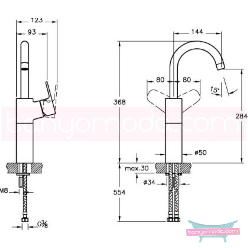 Artema D-Line Lavabo Bataryası (Yüksek) - A40749 açılı perlatörlü ısı ve debi ayarlı su ve enerji tasarruflu