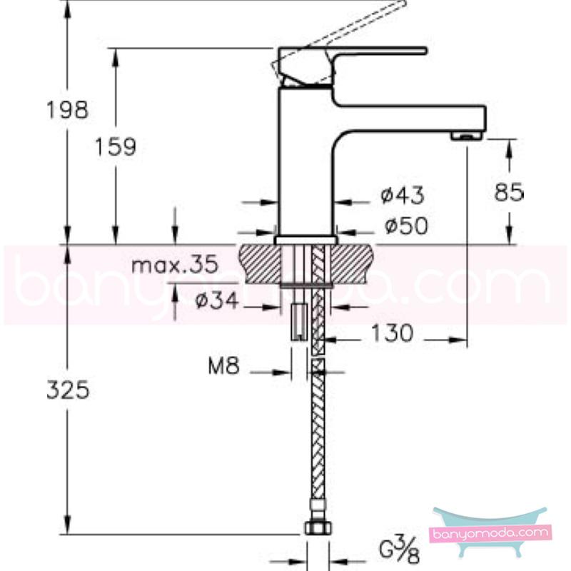 Artema Q-Line Lavabo Bataryası - A40775 açılı perlatörlü ısı ve debi ayarlı su ve enerji tasarruflu köşeli hatlarıyla farklılaşan armatür birçok lavabo ile uyum sağlıyor