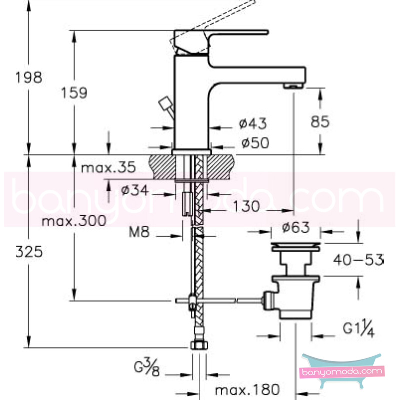 Artema Q-Line Lavabo Bataryası (Sifon Kumandalı), Ekstra Su Tasarruflu - A40776STA açılı perlatörlü ısı ve debi ayarlı su ve enerji tasarruflu köşeli hatlarıyla farklılaşan armatür birçok lavabo ile uyum sağlıyor