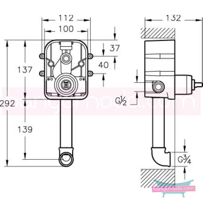 Artema Minimax S Ankastre Banyo Bataryası (Sıva Altı Grubu) - A40789 ısı ve debi ayarlı su ve enerji tasarruflu minimalist tasarımlı uygun fiyatlı armatür