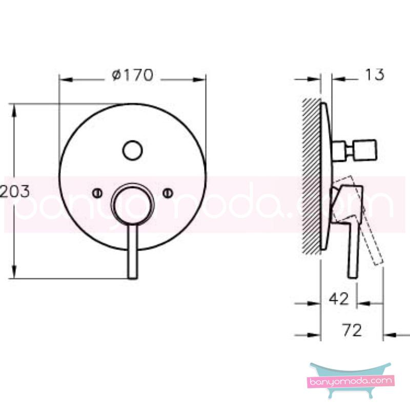 Artema Minimax S Ankastre Banyo Bataryası (Sıva Üstü Grubu) - A40790 minimalist tasarımlı uygun fiyatlı armatür