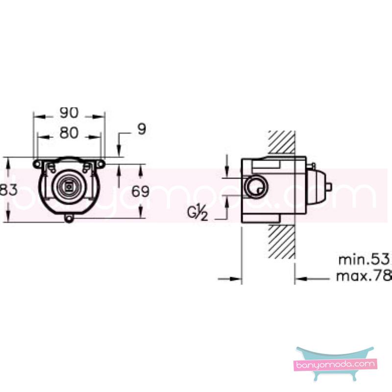 Artema Minimax S Ankastre Duş Bataryası (Sıva Altı Grubu) - A40792 ısı ve debi ayarlı su ve enerji tasarruflu minimalist tasarımlı uygun fiyatlı armatür