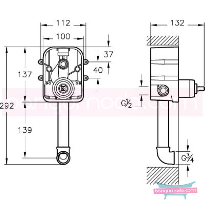 Artema C-Line Ankastre Banyo Bataryası (Sıva Üstü Grubu) - A40795 ısı ve debi ayarlı bataryayı özel kılan incelikli detaylarıyla tasarrufu ön plana çıkarır