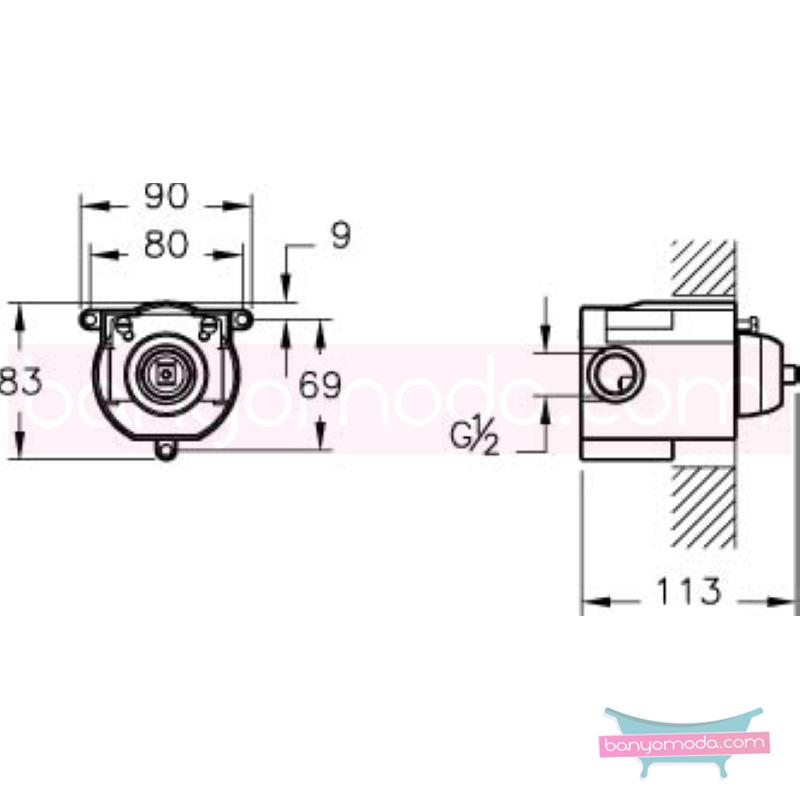 Artema C-Line Ankastre Duş Bataryası (Sıva Altı Grubu) - A40796 ısı ve debi ayarlı su ve enerji tasarruflu