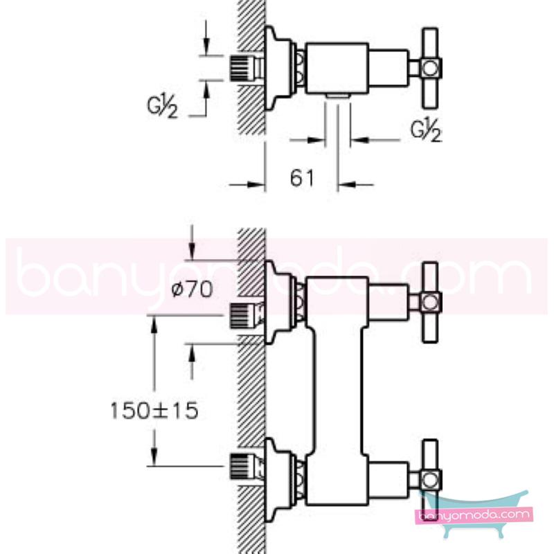 Artema Juno Duş Bataryası - A40867 90 derece açma kapama farklı geometrik ve özgün tasarımıyla banyonuz göz okşayıcı görünüme kavuşur