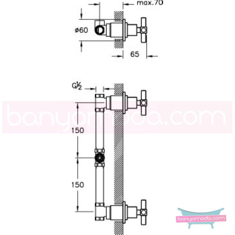 Artema Juno Ankastre Duş Bataryası, Altın - A4087023 90 derece açma kapama farklı geometrik ve özgün tasarımıyla banyonuz göz okşayıcı görünüme kavuşur