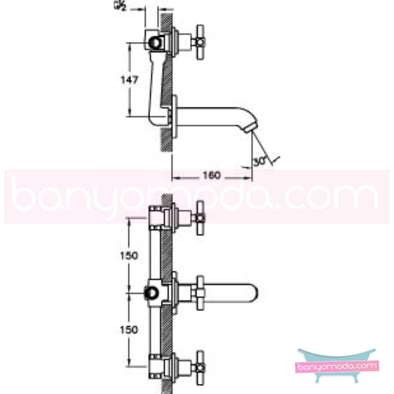 Artema Juno Ankastre Banyo Bataryası - A40871 90 derece açma kapama farklı geometrik ve özgün tasarımıyla banyonuz göz okşayıcı görünüme kavuşur