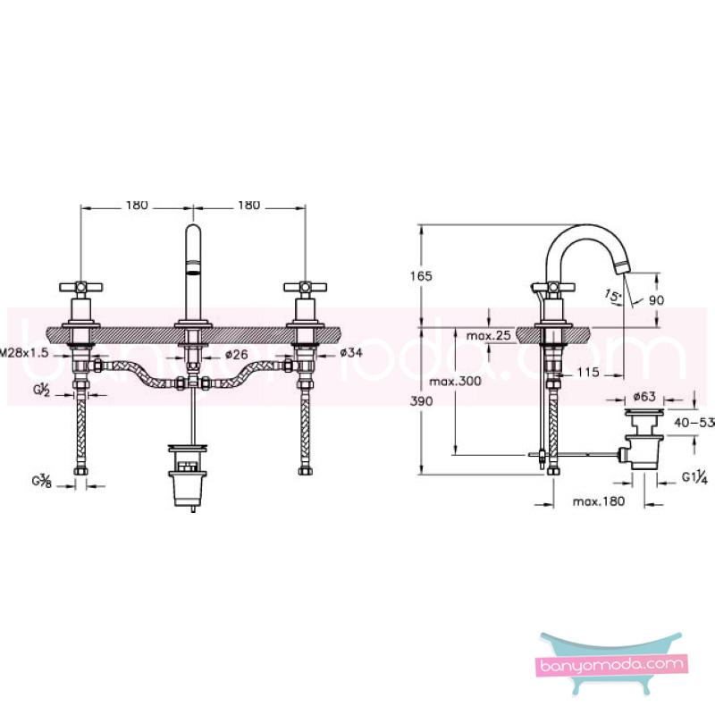 Artema Juno Ankastre Lavabo Bataryası (Sifon Kumandalı) - A40877 90 derece açma kapama farklı geometrik ve özgün tasarımıyla banyonuz göz okşayıcı görünüme kavuşur