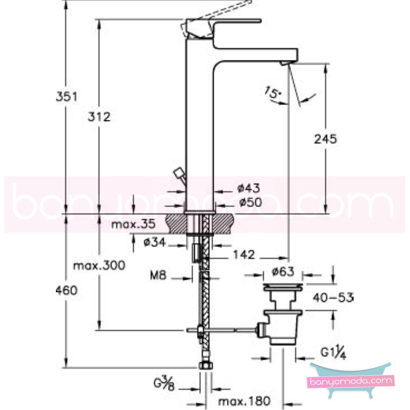 Artema Q-Line Lavabo Bataryası (Yüksek-Sifon Kumandalı), Ekstra Su Tasarruflu - A40980STA açılı perlatörlü ısı ve debi ayarlı su ve enerji tasarruflu köşeli hatlarıyla farklılaşan armatür birçok lavabo ile uyum sağlıyor