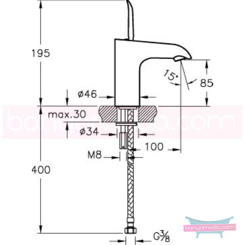 Artema T4 Lavabo Bataryası (Kısa) - A41238 joystick kartuş suyun doğal akışının önem kazandığı Noa tasarımlı armatür