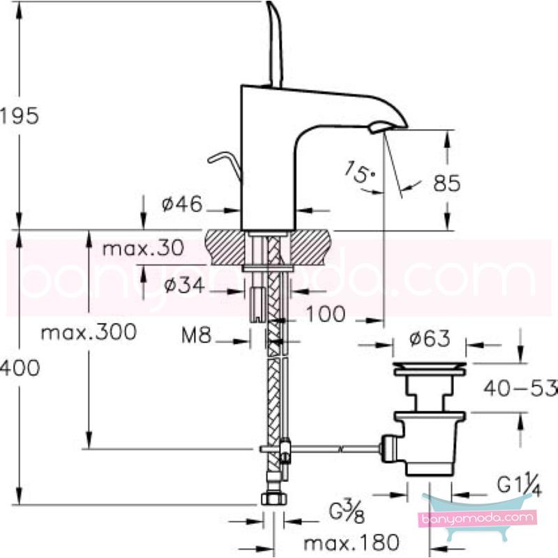 Artema T4 Lavabo Bataryası (Sifon Kumandalı-Kısa) - A41239 kireç kırıcılı joystick kartuş suyun doğal akışının önem kazandığı Noa tasarımlı armatür