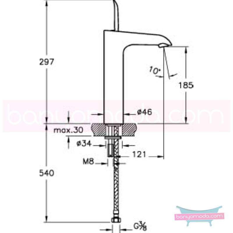 Artema T4 Lavabo Bataryası (Yüksek) - A41240 kireç kırıcılı joystick kartuş suyun doğal akışının önem kazandığı Noa tasarımlı armatür