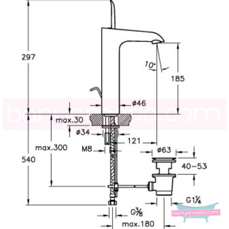 Artema T4 Lavabo Bataryası (Yüksek-Sifon Kumandalı) - A41241 joystick kartuş suyun doğal akışının önem kazandığı Noa tasarımlı armatür
