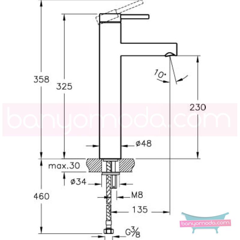 Artema Pure Lavabo Bataryası (Yüksek) - A41265 ısı ve debi ayarlı su ve enerji tasarruflu özelliklerinin yanı sıra yalın ve kusursuz tasarımıyla banyonuz estetik görünüme kavuşur