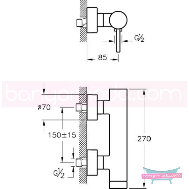 Artema Pure Duş Bataryası - A41267 ısı ve debi ayarlı su ve enerji tasarruflu özelliklerinin yanı sıra yalın ve kusursuz tasarımıyla banyonuz estetik görünüme kavuşur