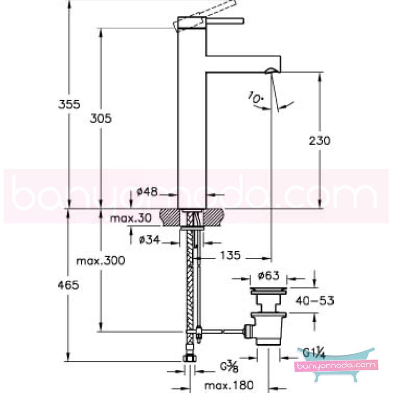 Artema Pure Lavabo Bataryası (Sifon Kumandalı-Yüksek) - A41271 ısı ve debi ayarlı su ve enerji tasarruflu özelliklerinin yanı sıra yalın ve kusursuz tasarımıyla banyonuz estetik görünüme kavuşur