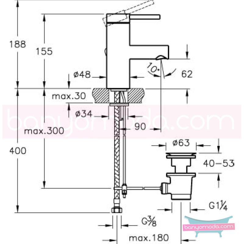 Artema Pure Lavabo Bataryası (Sifon Kumandalı-Kısa), Ekstra Su Tasarruflu - A41272STA ısı ve debi ayarlı su ve enerji tasarruflu