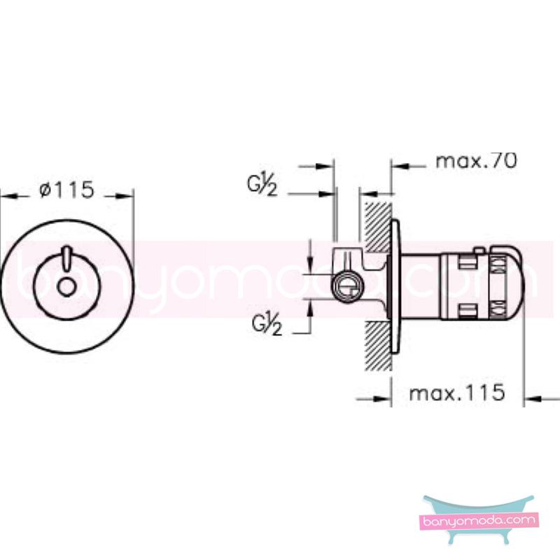 Artema AquaHeat Termostatik Ankastre Duş Bataryası - A41354 su ve enerji tasarruflu aşırı sıcak su ile yanma riskini ortadan termostatik armatür