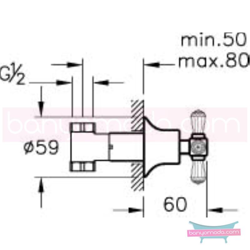 Artema Juno Swarovski Ankastre Stop Valf - A41431 90 derece açma kapama görkemli bir banyo ortamı oluşturmak icin yaratıldı