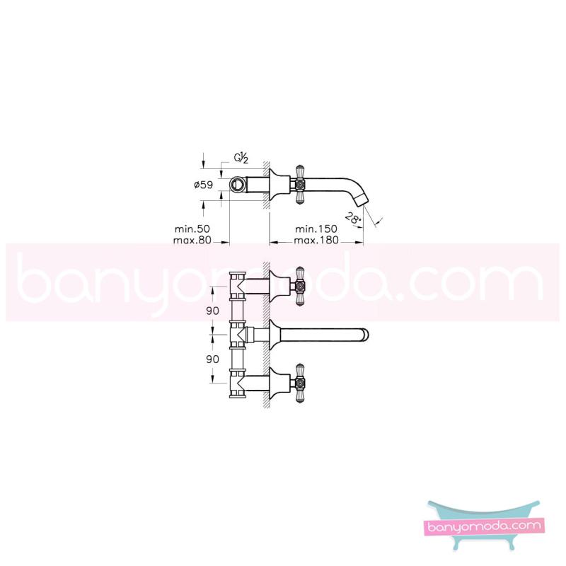 Artema Juno Swarovski Ankastre Lavabo Bataryası  - A41663 90 derece açma kapama görkemli bir banyo ortamı oluşturmak icin yaratıldı