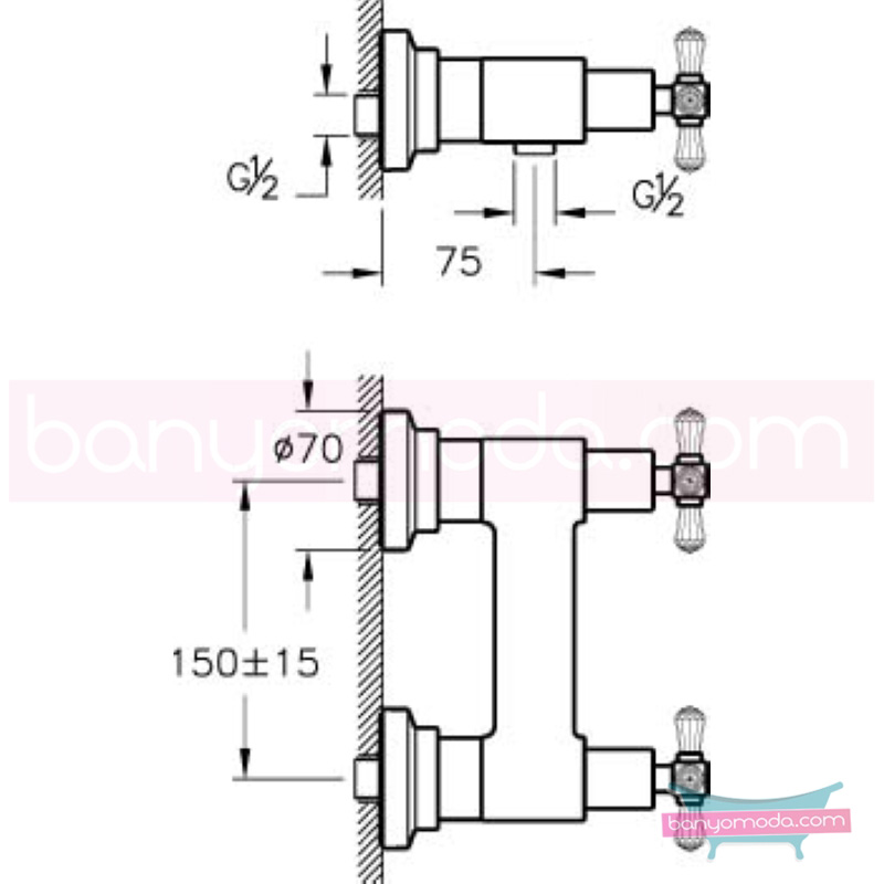 Artema Juno Swarovski Duş Bataryası  - A41669 90 derece açma kapama görkemli bir banyo ortamı oluşturmak icin yaratıldı