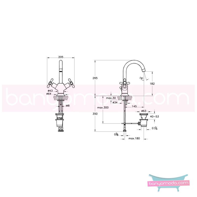 Artema Juno Classic Lavabo Bataryası (Sifon Kumandalı) - A41681 90 derece açma kapama klasik anlayışta bir banyo ortamı oluşturmak icin yaratıldı
